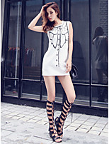 Women's Going out Casual/Daily Simple Cute A Line Dress,Print Round Neck Mini Sleeveless Polyester Summer Mid Rise Micro-elastic Medium