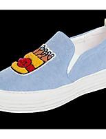 Для женщин Мокасины и Свитер Удобная обувь Полотно Весна Повседневные Удобная обувь Светло-синий На плоской подошве
