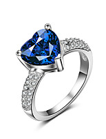 Ring Sapphire AAA Cubic Zirconia Fashion Elegant Silver Gemstone Porcelain  Heart  Shape Jewelry For Wedding Party