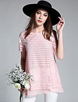 Tee-shirt Femme,Couleur Pleine simple Manches Courtes Col Arrondi Polyester
