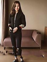 Для женщин Кожаные куртки Круглый вырез Длинный рукавВышивка