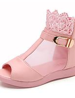 Girls' Flats Comfort PU Leatherette Spring Fall Daily Walking Magic Tape Low Heel Blushing Pink Black White Flat