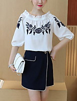 Women's Casual/Daily Simple Summer Blouse Skirt Suits,Print Boat Neck 3/4 Length Sleeve Embroidered Inelastic