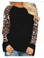 Women's Casual/Daily Simple T-shirt,Leopard Round Neck Short Sleeve Cotton