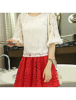 Women's Casual/Daily Cute Summer T-shirt Skirt Suits,Solid Round Neck Short Sleeve Micro-elastic
