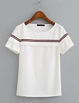 T-shirt Da donna Sensuale Semplice Moda città Estate,Fantasia floreale Con stampe Rotonda Cotone Manica corta Sottile Medio spessore