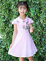 Girl's Embroidered Dress,Cotton Summer Short Sleeve