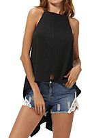 Women's Going out Beach Sexy Summer T-shirt,Solid Strap Sleeveless Cotton Medium