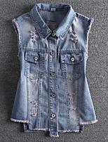 Women's Casual/Daily Simple Summer Denim Jacket,Solid Shirt Collar Sleeveless Regular Linen