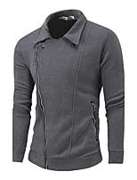 Sweatshirt Homme Décontracté / Quotidien simple Couleur Pleine Col de Chemise Micro-élastique Coton Manches longues Printemps Automne