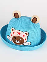 Kid's Sun Hat Cartoon Bear Star Pattern Ears Straw Hat