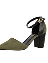 Women's Heels Leatherette Spring Summer Fall Chunky Heel Black Army Green Ruby Blushing Pink Khaki 3in-3 3/4in