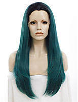 Celebritywig 24inch Synthetic Wigs Cool Dark Root Blue Green Awesome Wigs for Drag Queen Wig