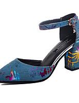 Women's Sandals Leatherette Summer Walking Buckle Block Heel Black Dark Blue 2in-2 3/4in