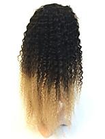 Бразильские волосы Натуральные волосы Лента спереди 130% плотность Kinky Curly Парик Черный / Клубника Blonde 100% ручная работа
