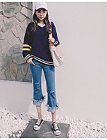 Women's Going out Vintage Street chic Regular Cardigan,Solid Striped V Neck Long Sleeve Others Spring Winter Medium Micro-elastic