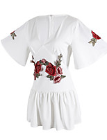 ANGELL Women's High Rise Going out Casual/Daily Club RompersCasual Birthday Relaxed Embroidered Embroidered Summer
