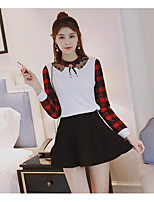 Women's Going out Casual/Daily Holiday Cute Street chic Active Shirt Dress Suits,Color Block Round Neck Long Sleeve