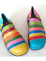 Women's Sneakers Comfort Cowhide Nappa Leather Spring Casual Blue Green Red Flat