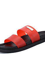 Men's Slippers & Flip-Flops Comfort PU Spring Fall Outdoor Office & Career Casual Lace-up Flat Heel Blue Red Black Flat