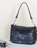Women's Tote Sheepskin All Seasons Casual Baguette Split Joint Zipper Black