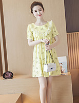 Women's Going out Casual/Daily Loose Dress,Print Round Neck Mini Short Sleeve Others Summer Mid Rise Inelastic Medium
