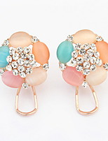 Korean Style  Sweet  Elegant Multicolor Opal Rhinestone Flower Earrings Lady Daily Clip Earrings Movie Jewelry