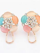 Ohrstecker Tropfen-Ohrringe Kreolen Opal Imitation DiamantBasis Einzigartiges Design Logo Stil Blumen Stil Strass Kreis Freundschaft