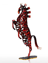 Metal Red Weaving Horse Figurine Iron Miniature Figurine Home Decor Animal Craft Gift For Home Office