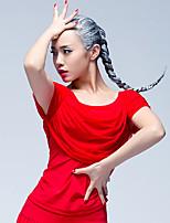 Danse latine Hauts Femme Entraînement Soie Glacée Plissé 1 Pièce Manche courte Taille moyenne Hauts