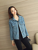 Women's Going out Casual/Daily Simple Street chic Summer Denim Jacket,Solid Stand Long Sleeve Regular Cotton