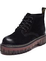 Для женщин Туфли на шнуровке Удобная обувь Полиуретан Весна Повседневный Черный Хаки На плоской подошве