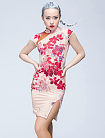 Latin Dance Dresses Women's Performance Ice Silk Pattern/Print 1 Piece Short Sleeve Natural Dresses