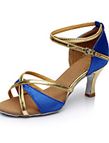 Women's Dance Shoes Satin Latin Sandals Heel Indoor Customizable