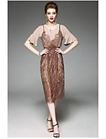 Gaine Robe Femme QuotidienCouleur Pleine Col Arrondi Midi Manches Courtes Polyester Eté Taille Haute Micro-élastique Fin