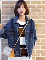 Veste en jean Femme,Couleur Pleine Quotidien Contemporain Toutes Saisons Eté Manches longues Col de Chemise Normal Polyester