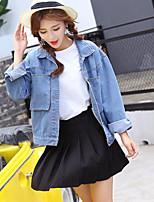 Women's Daily Cute Spring Denim Jacket,Solid Shirt Collar Long Sleeve Regular Cotton