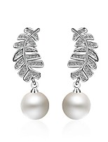 Women's Drop Earrings Imitation Pearl Imitation Pearl Hypoallergenic Pearl Platinum Plated Leaf Jewelry 147 Party/Evening Dailywear Gift1