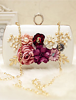 Women Evening Bag PU All Seasons Event/Party Party & Evening Date Club Baguette Flower Magnetic Almond Peachblow Blushing Pink Red Black