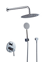 Contemporary Art Deco/Retro Modern Shower System Rain Shower Handshower Included with  Ceramic Valve Two Handles Four Holes for Chrome Shower Faucets