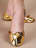 Women's Dance Sneakers Faux Leather Flats Heels Practice Silver Gold
