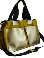 Women Tote Cowhide All Seasons Casual Weekend Bag Metallic Zipper Fuchsia Yellow Red Black Green
