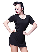 Latin Dance Tops Women's Performance Rayon Hollow-out 1 Piece Short Sleeve Natural Tops