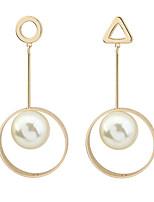 Damen Tropfen-Ohrringe Imitierte Perlen Modisch Euramerican Kupfer Kreisform Geometrische Form Dreiecksform Schmuck Für Party Alltag1