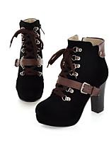 Для женщин Ботинки Флис Зима На толстом каблуке Черный Желтый Зеленый Синий 7 - 9,5 см