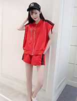 Women's Sports Simple Hoodie Pant Suits,Solid Round Neck Short Sleeve