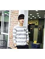 Men's Daily Casual Sweatshirt Solid Striped Round Neck Micro-elastic Cotton Long Sleeve Spring