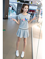 Women's Going out Casual/Daily Sexy Spring Summer Hoodie Dress Suits,Solid Stand Short Sleeve Pleated Micro-elastic