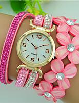 Women's Quartz Rhinestone Leather Band Flower Bracelet Watch