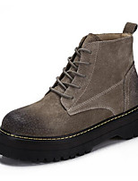 Women's Boots Comfort Nubuck leather Pigskin Nappa Leather Spring Casual Comfort Khaki Gray Black Flat